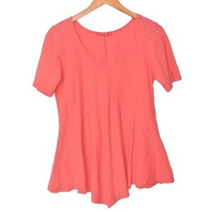 Cut Loose Coral Tunic Top M V Neck